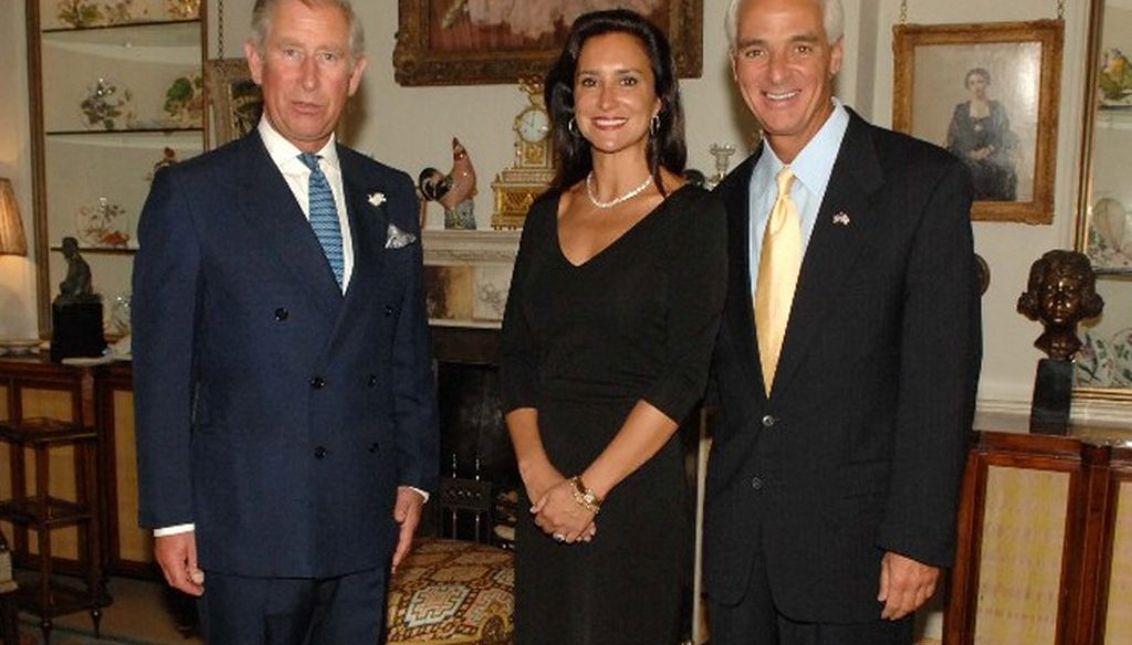 Gov. Charlie Crist's trip to Europe in 2008 included a meeting with Prince Charles. Also pictured is Crist's then-fiancee Carole Rome.