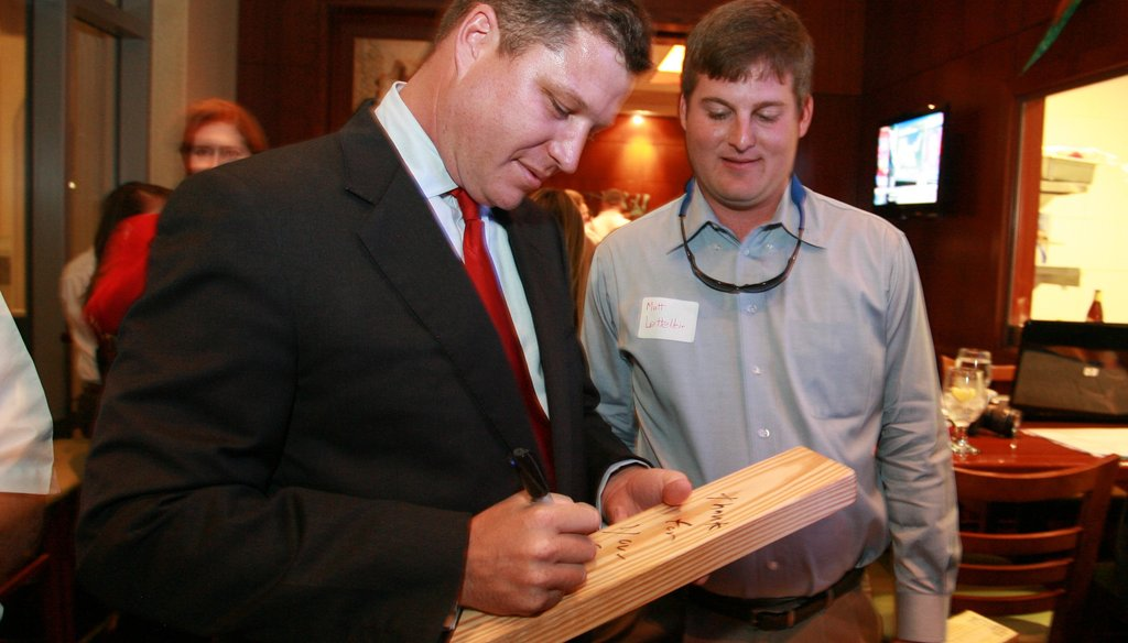 Jeff Brandes signs blocks of wood on election night after promising to take Tallahassee to the woodshed. Did he?