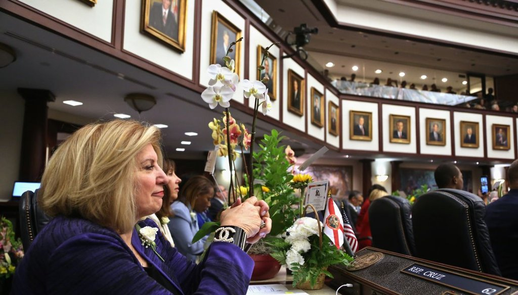Rep. Janet Cruz, D- Tampa, listens to House Speaker Richard Corcoran's speech in the Florida House, Tuesday, on the first day of the 2017 session. (Scott Keeler, Tampa Bay Times)