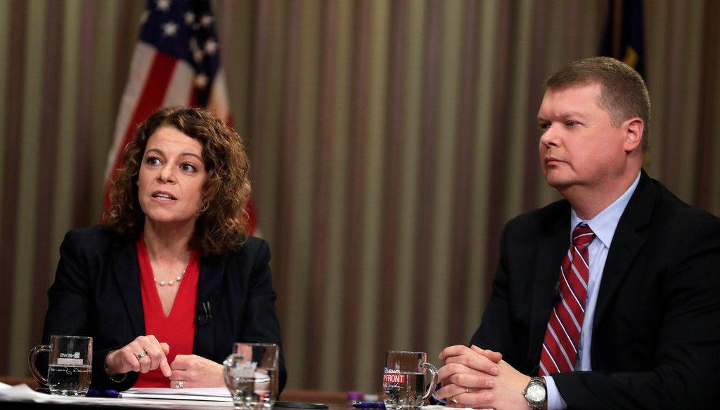 Wisconsin Supreme Court candidates Rebecca Dallet, a Milwaukee County Circuit judge, and Michael Screnock, a Sauk County Circuit judge, debate issues at Marquette University Law School. (Rick Wood/Milwaukee Journal Sentinel)