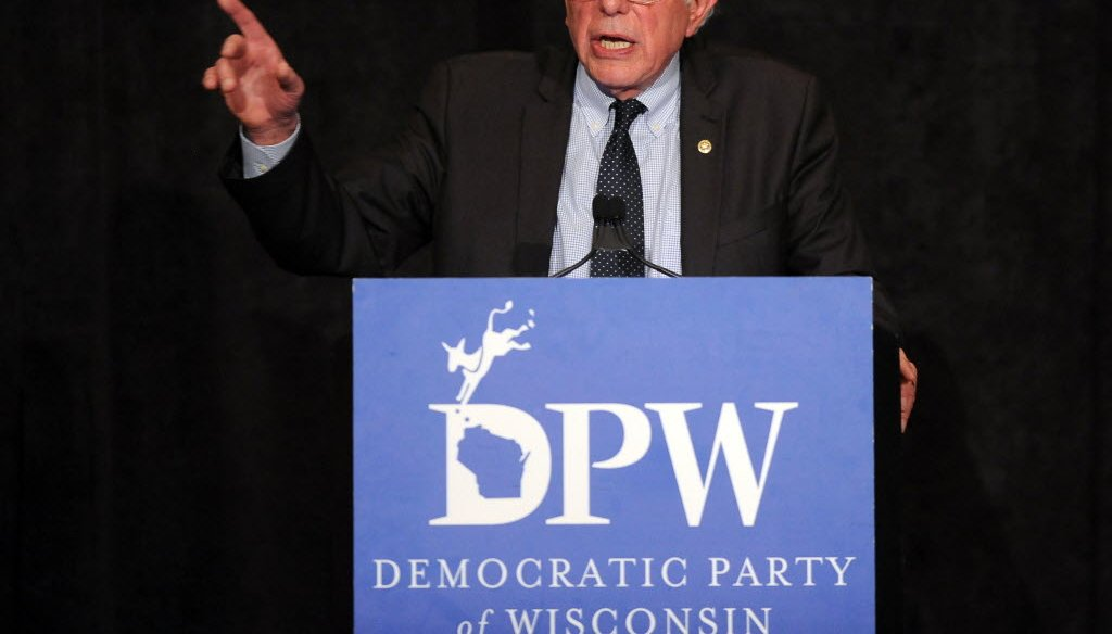Bernie Sanders speaks in Milwaukee in April 2016 at the state Democratic Party's Founders Day dinner. (Photo by Michael McLoone)
