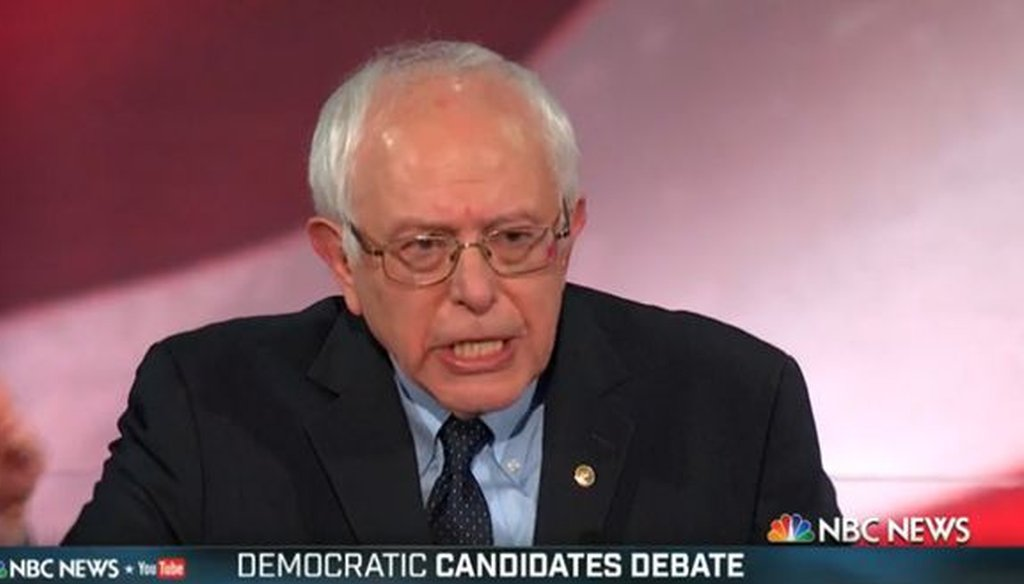 Bernie Sanders faced off against Hillary Clinton and Martin O'Malley in a Democratic presidential debate in Charleston, S.C., on Jan. 17, 2016.
