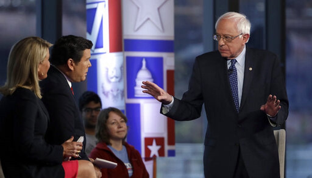 Sen. Bernie Sanders speaks during a Fox News town-hall style event Monday April 15, 2019 in Bethlehem, Pa. (AP Photo/Matt Rourke)