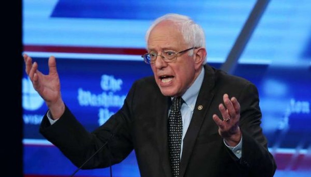 Democratic presidential candidate Bernie Sanders speaks at the Univision News-Washington Post debate on March 9, 2016, in Miami. (Joe Raedle/Getty Images)