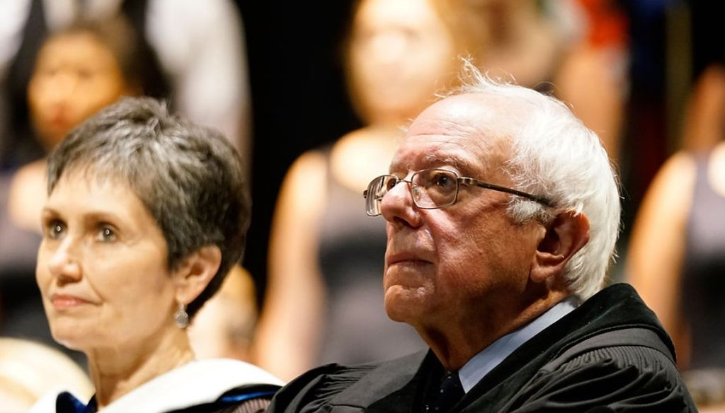 Acting President of Westminster College Carolyn Perry and Sen. Bernie Sanders listen to the Churchill Singers Thursday at Westminster College in Fulton. (Pamela A. Houser/Missourian)