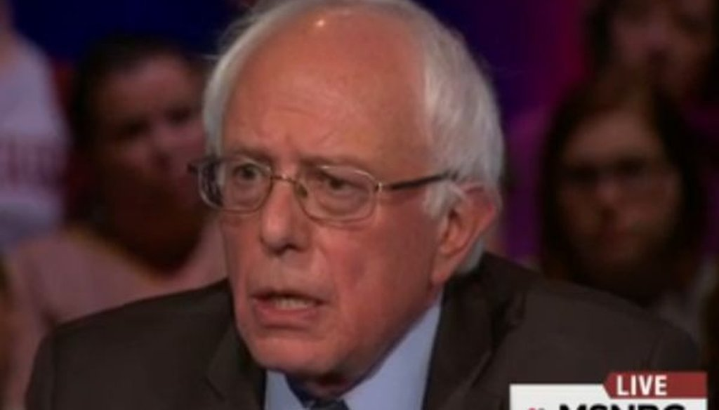 Bernie Sanders was one of three Democratic candidates for president to take part in an MSNBC forum in Rock Hill, S.C.