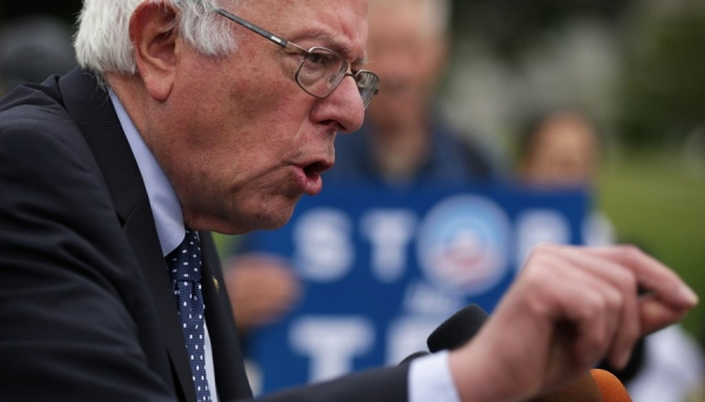 Democratic presidential candidate Bernie Sanders speaks during a news conference on Capitol Hill on June 3, 2015.