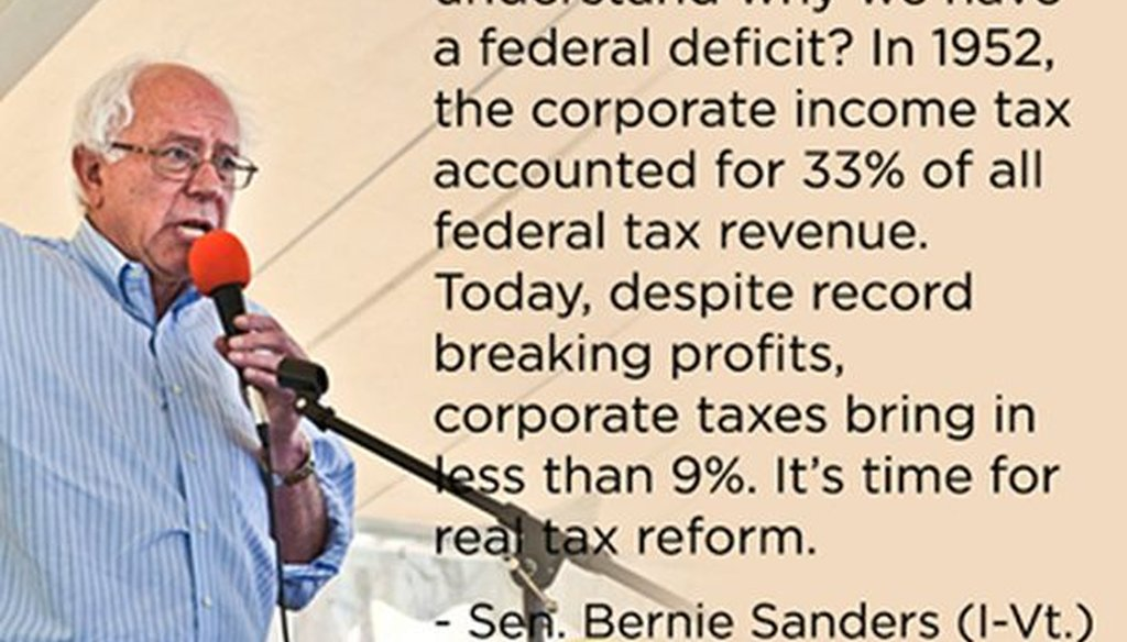 Sen. Bernie Sanders, I-Vt., produced this meme on corporate taxation. We checked to see whether it's correct.