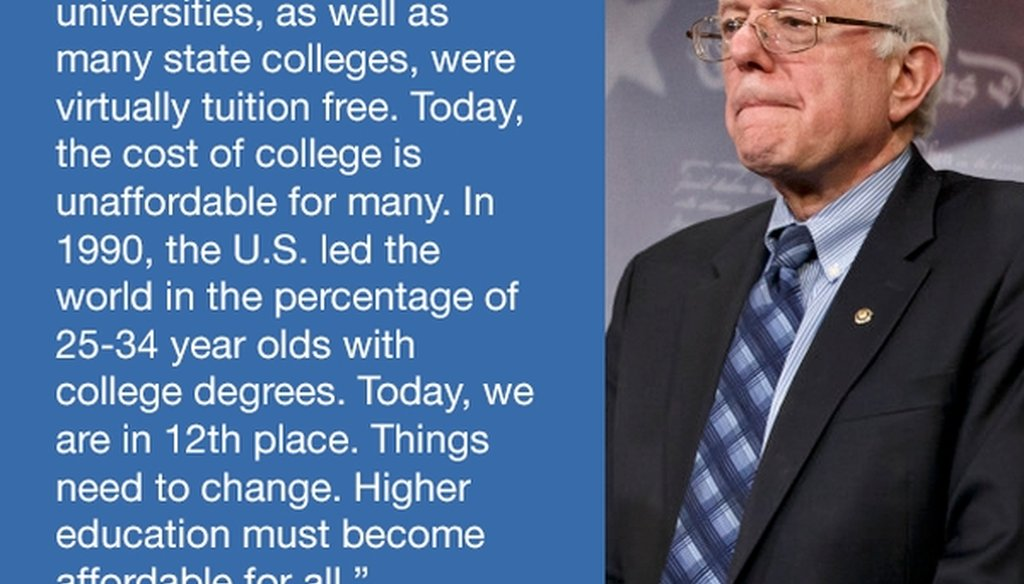 A reader asked us to check whether this social media meme from Sen. Bernie Sanders, I-Vt., is accurate.
