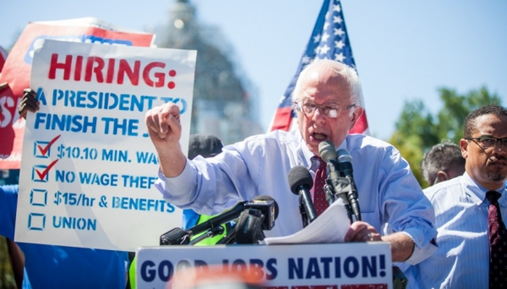 Democratic presidential candidate Bernie Sanders discusses the minimum wage during a rally on Capitol Hill in Washington, on July 22, 2015. (Zach Gibson/New York Times)