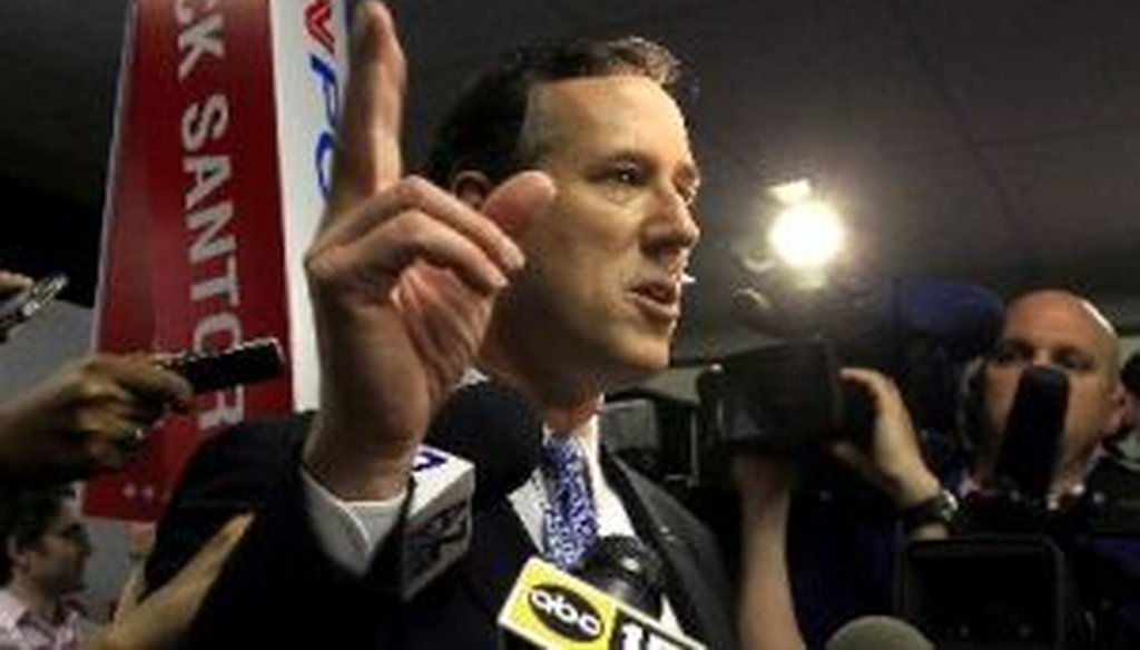 Rick Santorum talks to the media following a Republican presidential debate on Feb. 22, 2012, in Mesa, Ariz.
