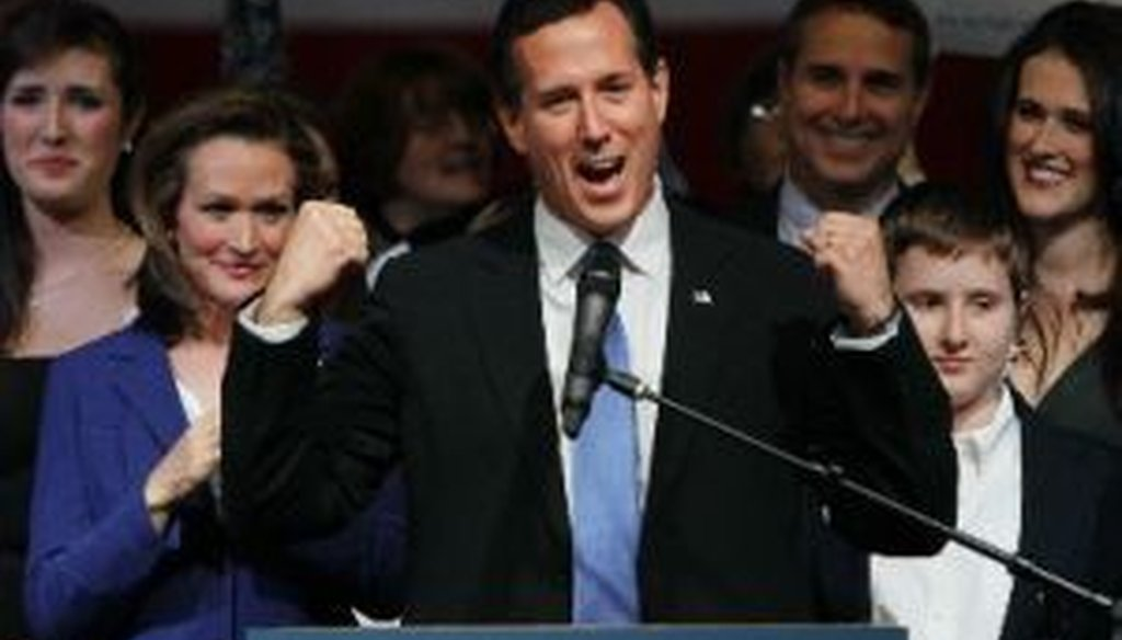 Rick Santorum addressed supporters in Steubenville, Ohio, after Super Tuesday balloting on March 6, 2012.