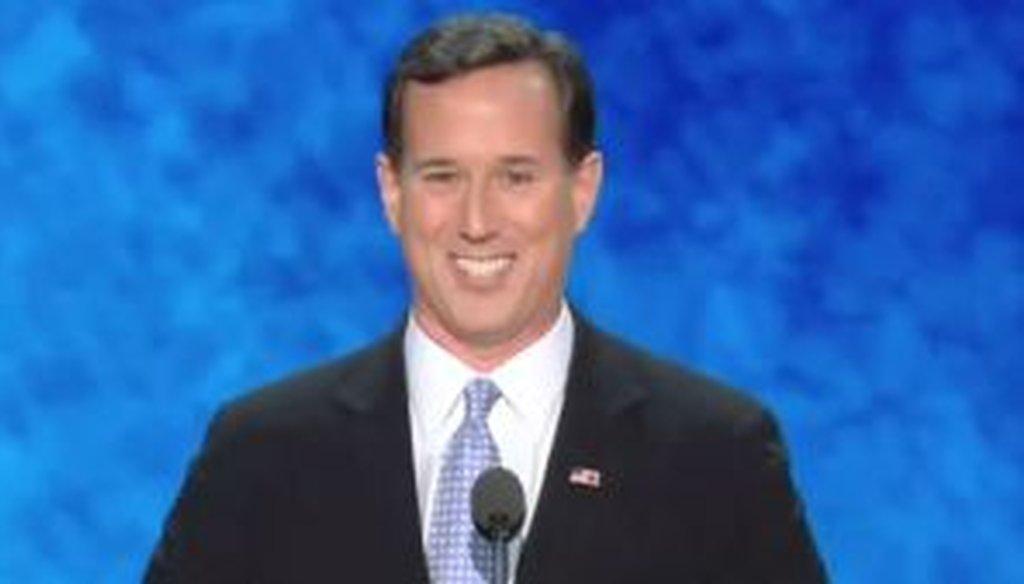 Former Sen. Rick Santorum speaks at the Republican National Convention in Tampa.