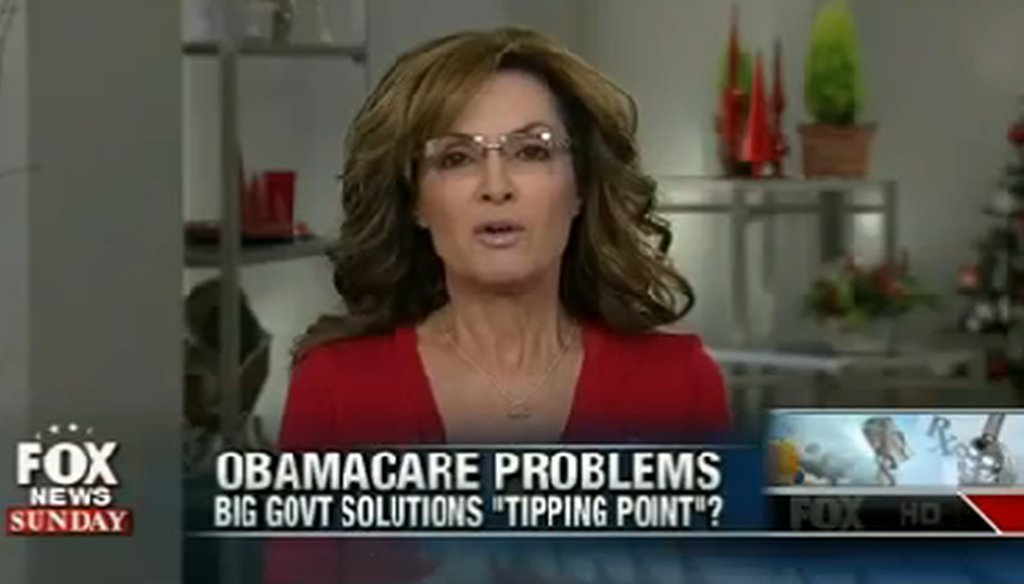 "On ""Fox News Sunday,"" former Alaska Gov. Sarah Palin said: ""There will be fewer people being covered under a sensible doctor-patient relationship centered health care program under Obamacare than what we see today."""