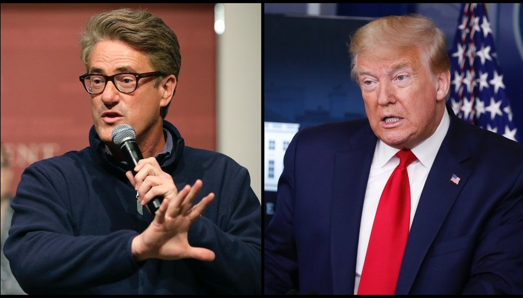 President Donald Trump spread a baseless claim that MSNBC host Joe Scarborough murdered a staff member in 2001. (AP/Steven Senne/Alex Brandon)