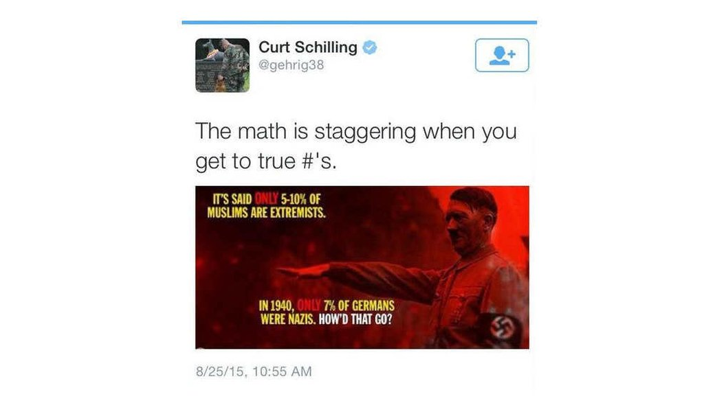 ESPN commentator and former baseball pitcher Curt Schilling posted this tweet (screenshot)
