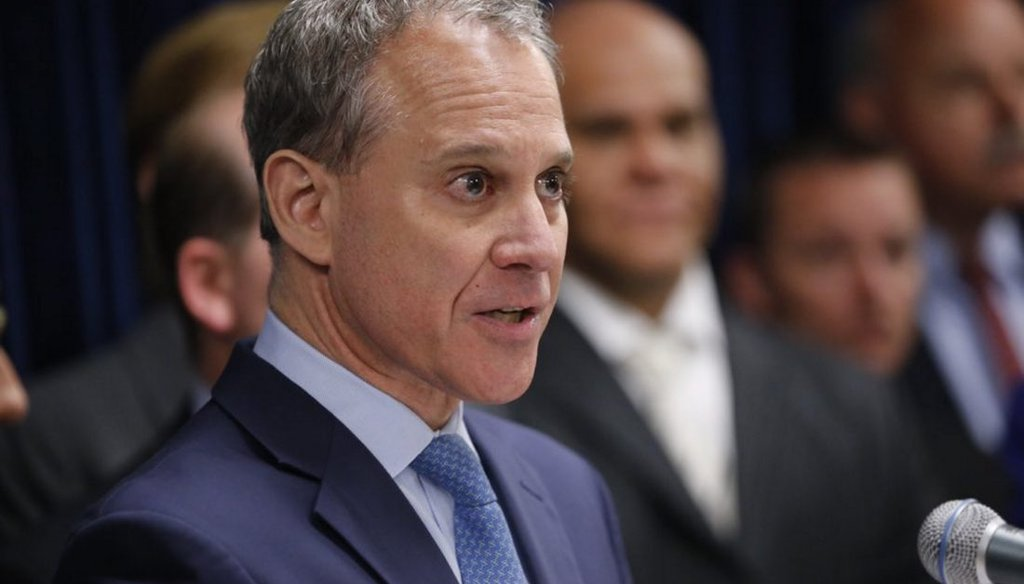 State Attorney General Eric Schneiderman claimed the state's uninsured rate has been cut in half since 2013. (Derek Gee/Buffalo News)