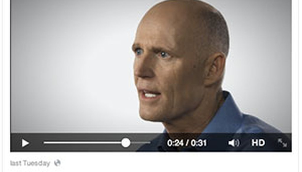 Rick Scott talks about Medicare in an online ad featured on his Facebook page.