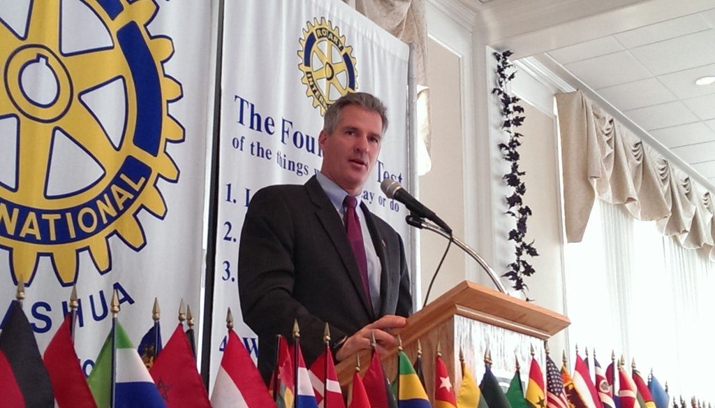 Former U.S. Sen. Scott Brown, R-Mass., speaks to members of the Nashua Rotary Club at the Nashua Country Club on Monday, Oct. 28, 2013. Photo by Jim Haddadin
