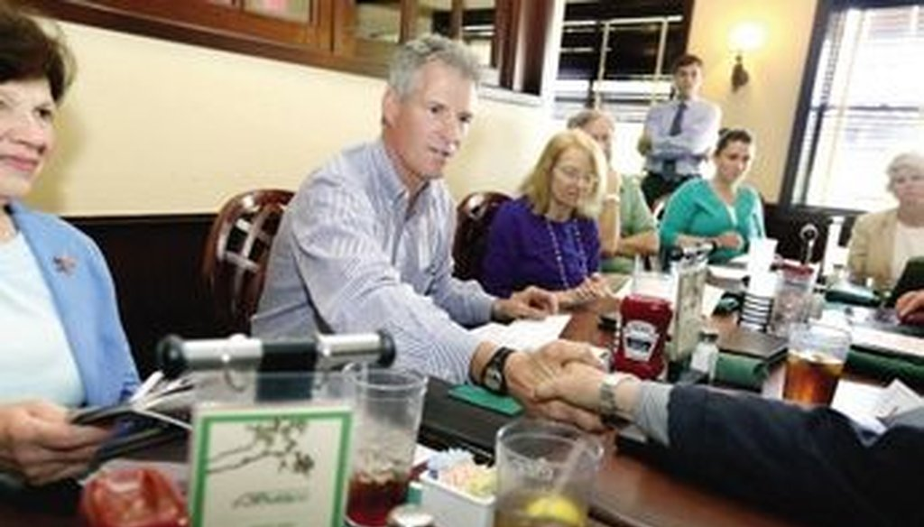 U.S. Senate candidate Scott Brown sat down with Seacoast residents at Paddy's American Grille to talk energy prices and policy at Pease on June 10. Photo courtesy seacoastonline.com
