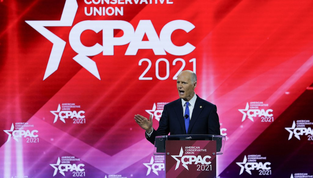 Sen. Rick Scott, R-Fla., speaks at the Conservative Political Action Conference Feb. 26, 2021, in Orlando, Fla. (AP Photo/John Raoux)