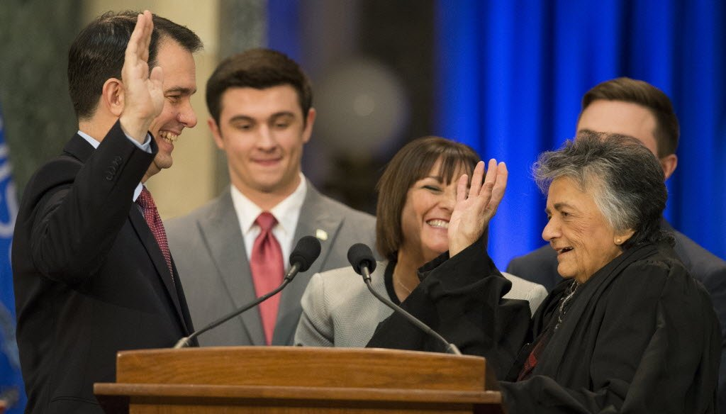 Scott Walker began his second term as Wisconsin's governor on Jan. 5, 2015 after being given the oath of office by state Supreme Court Justice Shirley Abrahamson.