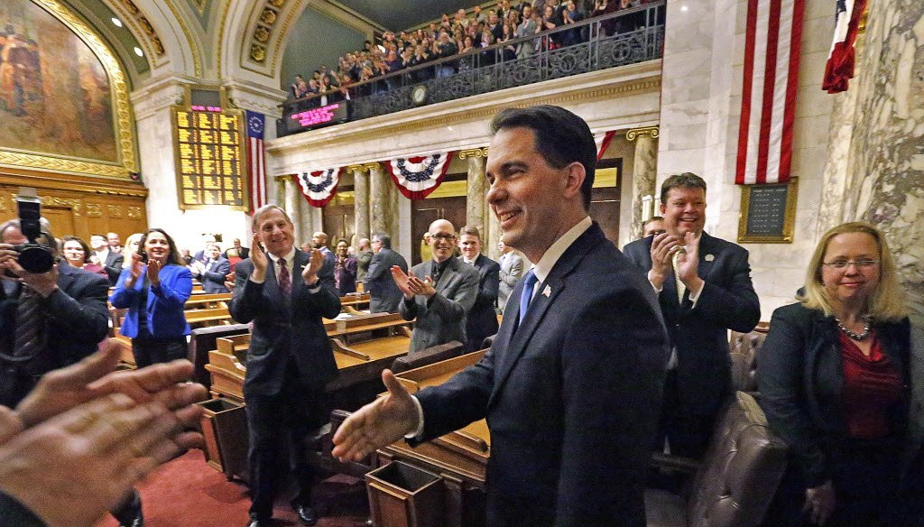 """Wisconsin Gov. Scott Walker's 2018 """"State of the State"""" speech is expected to be part review of accomplishments and part proposing new initiatives. (Rick Wood/Milwaukee Journal Sentinel)"""