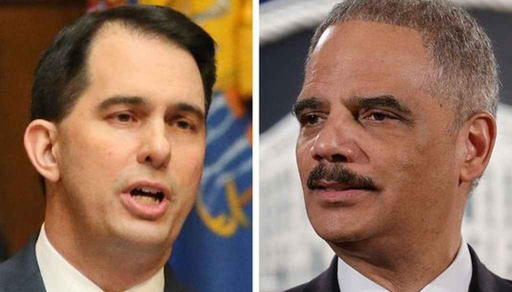 "Wisconsin Gov. Scott Walker (left) attacked former U.S. Attorney General Eric Holder's involvement in a Wisconsin Supreme Court race that has Democrats hoping for a ""blue wave"" of wins in future elections."