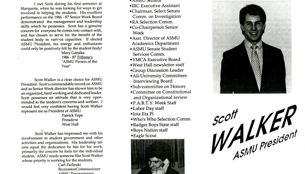 A campaign hand out from Scott Walker's bid for student body president at Marquette University. There was a controversy over missing student newspapers when Walker ran for the position in 1988.