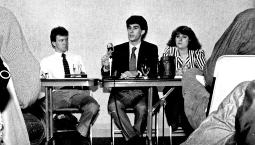 This photo, from the 1987 Marquette University yearbook, shows student senator Scott Walker (center) during a student government meeting. (Marquette University photo)