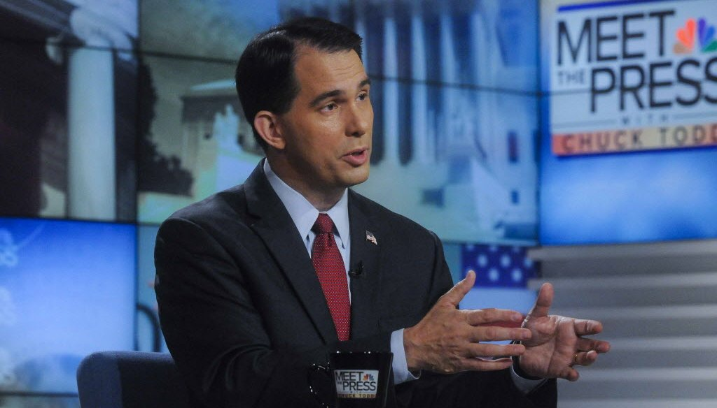 "Gov. Scott Walker was asked about building a wall on the U.S.-Canada border during an interview on ""Meet the Press"" that was done on Aug. 29, 2015. (NBC photo)"