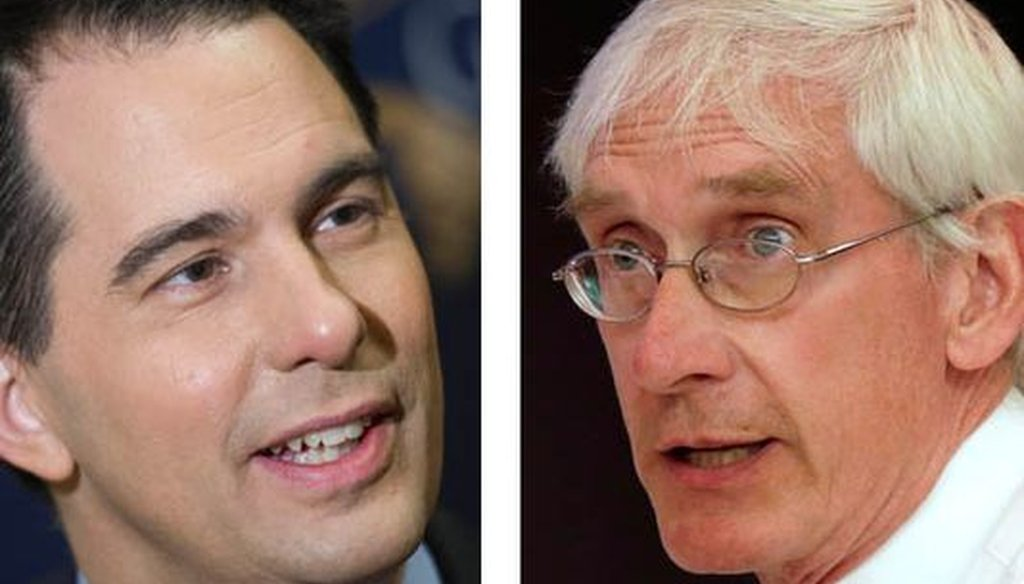 Republican Gov. Scott Walker (left) used a poll to test attack lines on his Democratic challenger, Tony Evers.