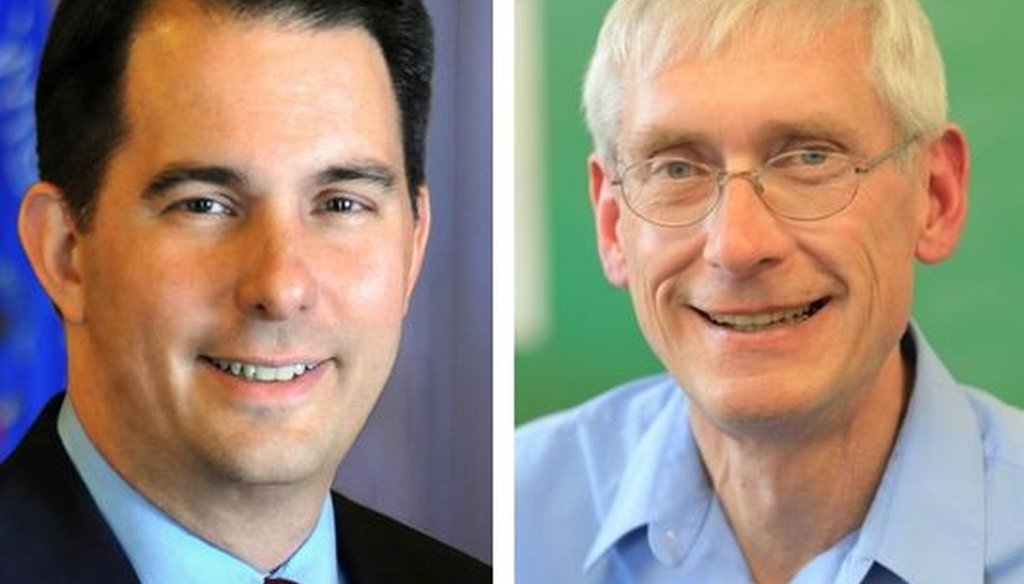 Republican Gov. Scott Walker (left) is seeking a third term in the Nov. 6, 2018 election. His challenger is Democrat Tony Evers, the state schools superintendent.