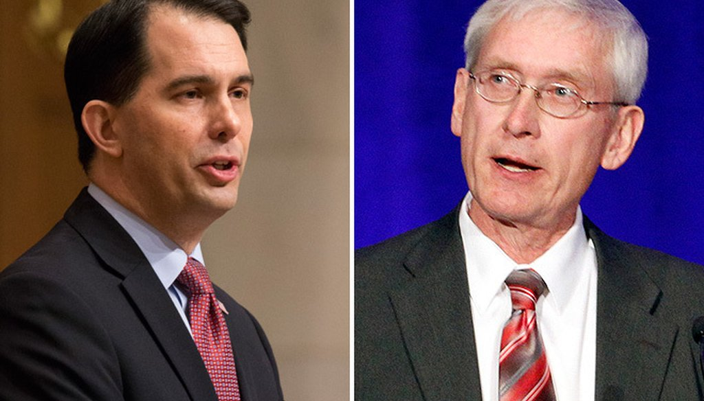Republican Gov. Scott Walker (left), running for a third term, has repeatedly attacked Democratic challenger Tony Evers over Evers' handling of a case involving a teacher who viewed pornography at school.
