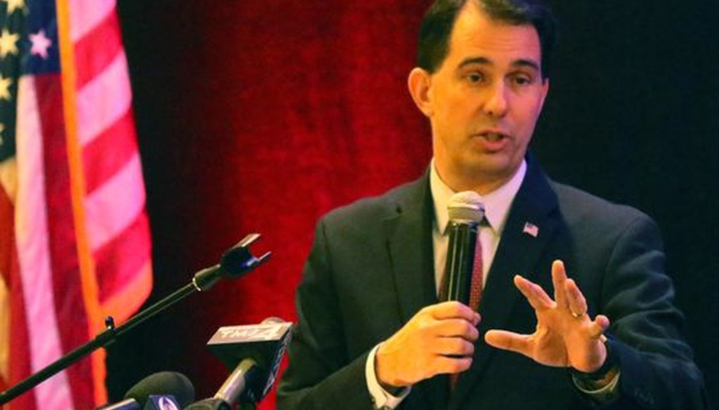 Wisconsin Gov. Scott Walker is touting his tax cuts as he runs for a third term in the 2018 election. (C.T. Kruger/NOW Newspapers)