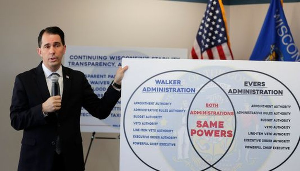 Gov. Scott Walker signed lame-duck legislation that limits the powers of his successor, although he argued otherwise during the signing. (USA Today Network-Wisconsin)