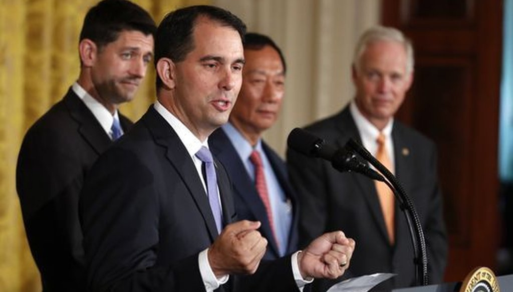 Wisconsin Gov. Scott Walker visited the White House on July 26, 2017 to take part in an announcement that Foxconn plans to build a $10 billion manufacturing facility in his state. (Associated Press)