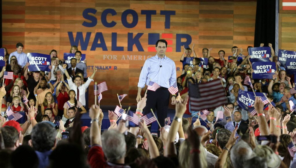 Gov. Scott Walker kicked off his presidential campaign at the Waukesha County Expo Center in Waukesha, Wis. on July 13, 2015. Tax cuts to boost family incomes were a big part of his campaign. (Rick Wood photo)