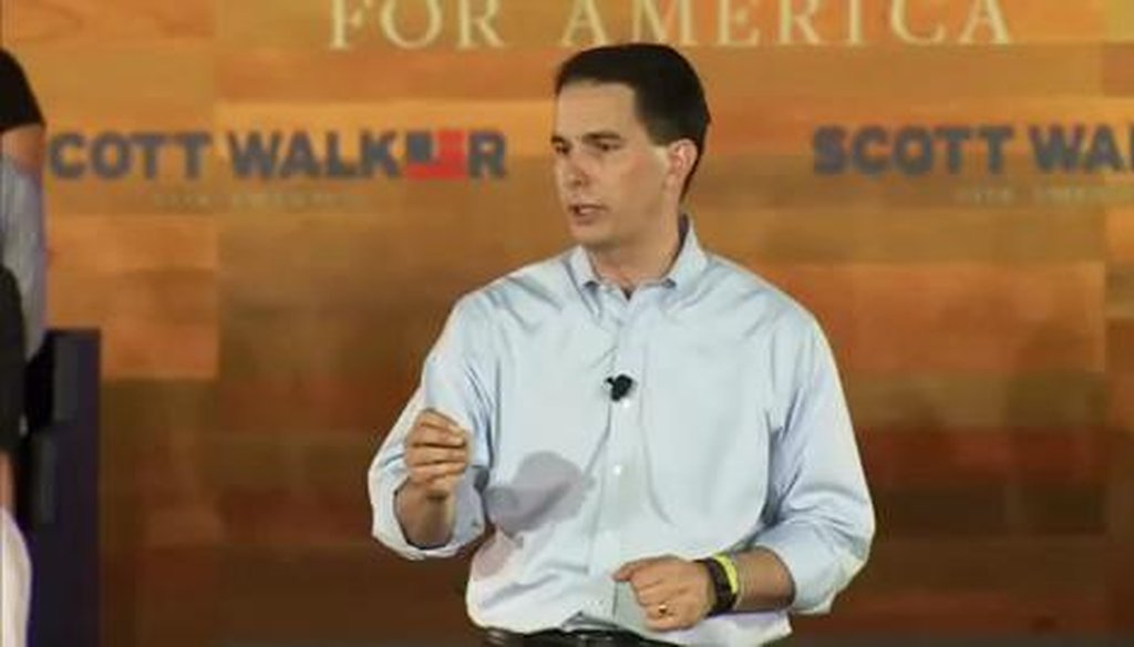 Gov. Scott Walker touted a reduction in Wisconsin property taxes during his presidential announcement speech on July 13, 2015 in suburban Milwaukee.