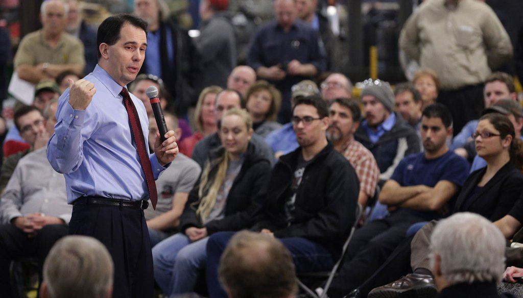 Republican Scott Walker served two terms as Wisconsin's governor. He leaves office in January 2019, having lost a bid for a third four-year term. (Michael Sears/Milwaukee Journal Sentinel)