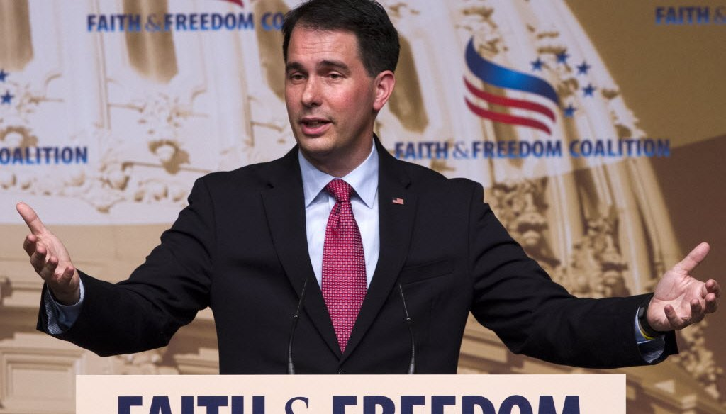 Gov. Scott Walker, shown here speaking in June 2015 at a conference in Washington, D.C., has defended a Wisconsin law he signed that requires women seeking an abortion to get an ultrasound. (AP photo)