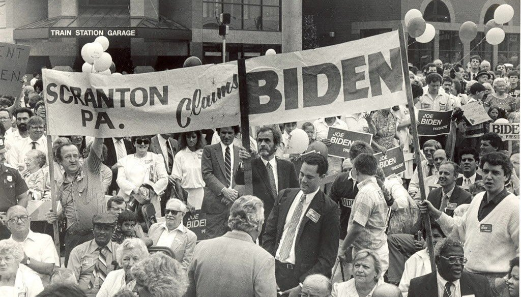 Biden's childhood friend Jimmy Kennedy traveled from Scranton to Wilmington in 88 and carried this banner at the kick off for Biden's first presidential bid. Courtesy of The Scranton Times-Tribune