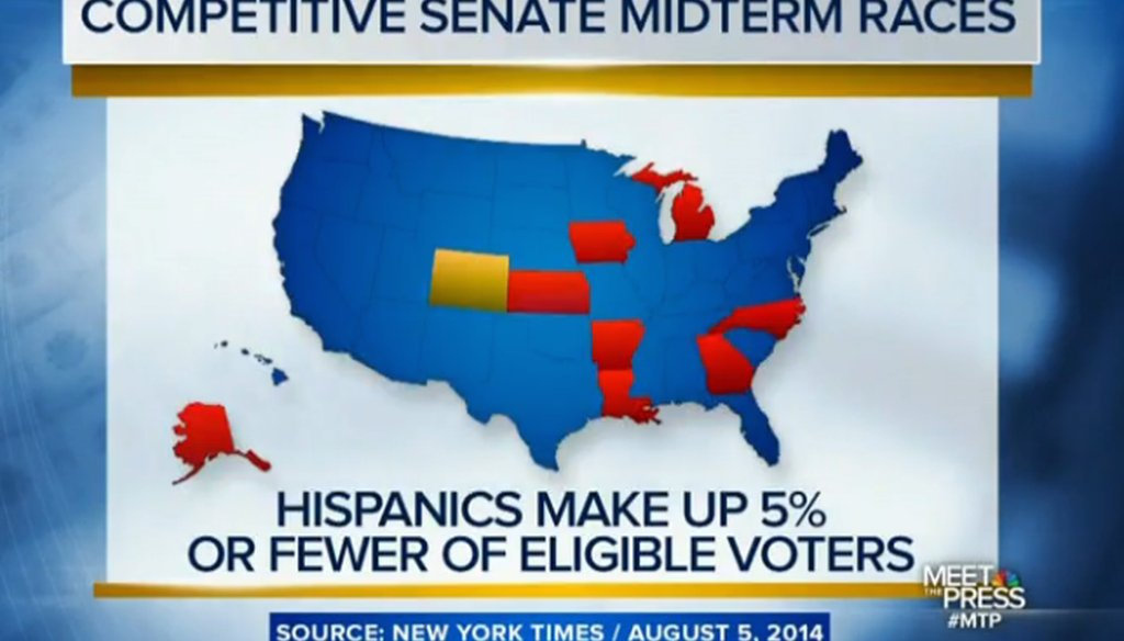 """Meet the Press"" host Chuck Todd used this map to illustrate a point about states with toss-up Senate races."
