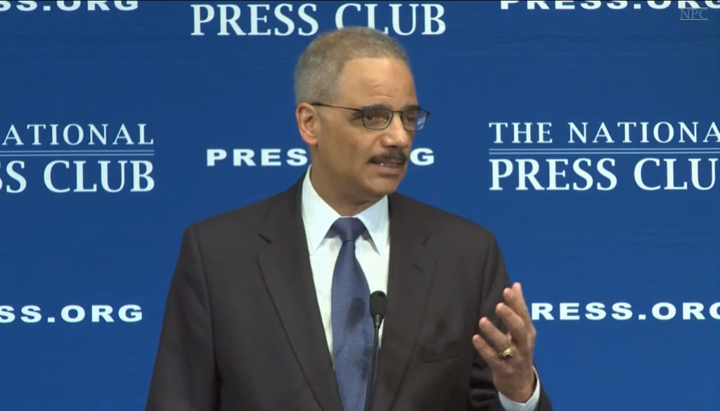 Attorney General Eric Holder advocated for criminal justice reform at the National Press Club Feb. 17, 2015