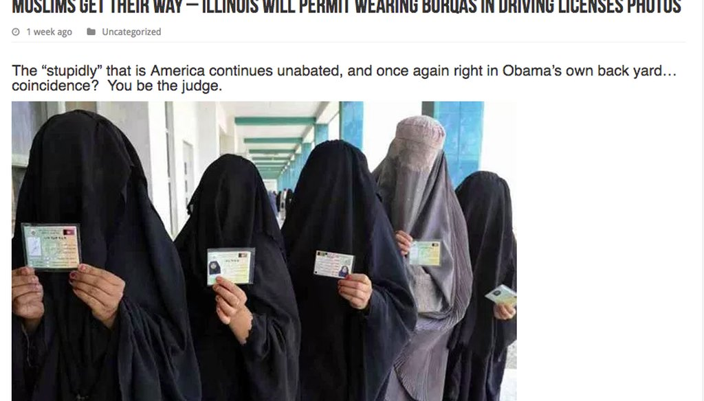 Fake news about Muslims wearing burqas in Illinois driver's license photos.