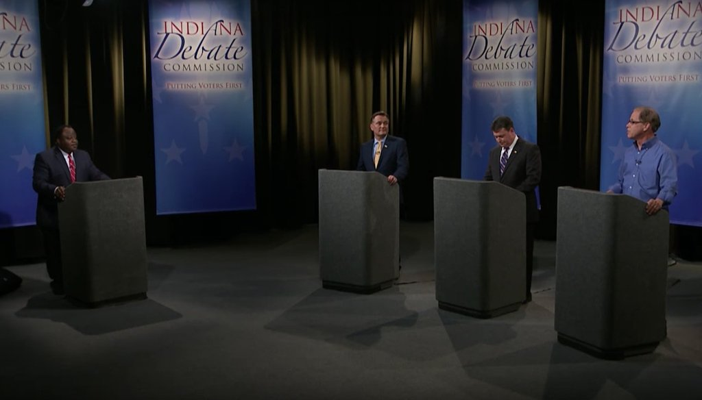 Luke Messer, Todd Rokita and Mike Braun make their cases at the last debate before the Indiana Republican primary.