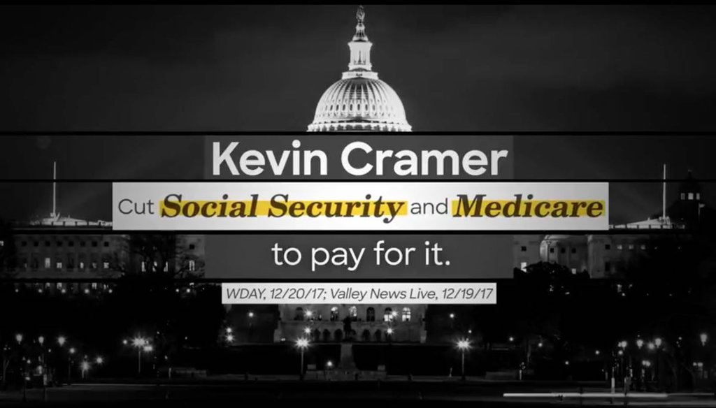 Screenshot of Senate Majority PAC's ad against Kevin Cramer, released on June 8, 2018.