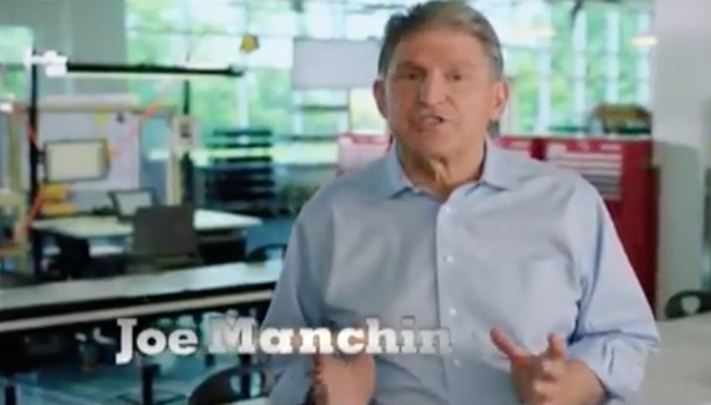 This is a still from a campaign ad for Sen. Joe Manchin, D-W.Va.