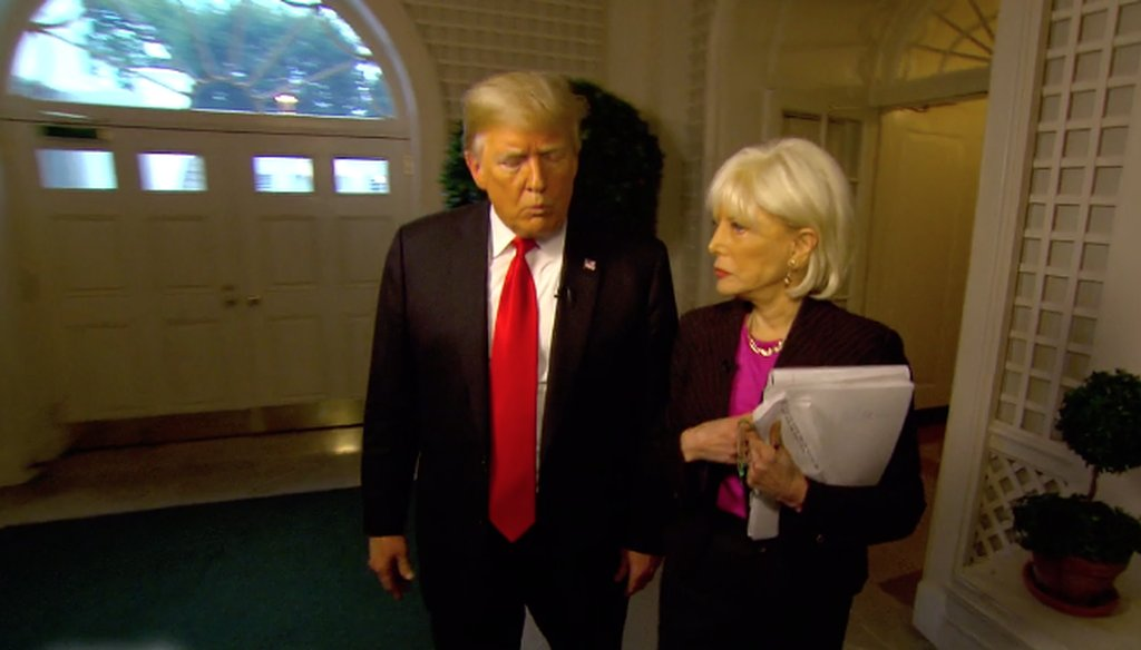 "President Donald Trump and CBS correspondent Lesley Stahl at the White House for an interview that aired on ""60 Minutes."""