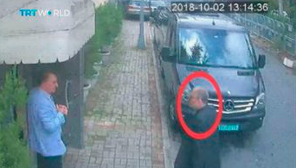 This image purportedly shows Saudi journalist Jamal Khashoggi entering the Saudi consulate in Istanbul, Tuesday, Oct. 2, 2018, shortly before he was murdered. (CCTV/TRT World via AP)